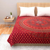 Maroon Printed Double Bedsheet in Cotton