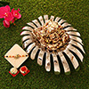 Meenakari Peacock Rakhi with 24 Cubes Dateberry in Porcelain Tray