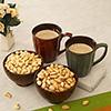 Mug Set and 2 Wooden Bowls with Dryfruits