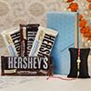 Multicolored Pearl Rakhi with Hershey's Chocolates
