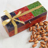 Multicoloured Embossed Wooden Box With 100g Almonds