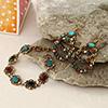 Multicoloured Stone Studded Ethnic Earrings & Bracelet Hamper