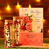 New Year Greeting Card with Message Bottles in Gift Box