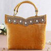Ochre Yellow Velvet Handbag With Stonework