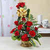 One Sided Basket of 10 Red Roses & 5 Red Carnations