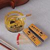 Orange Printed Glass Ashtray & Matchbox Set