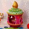 Painted Clay Diya with Diya Stand
