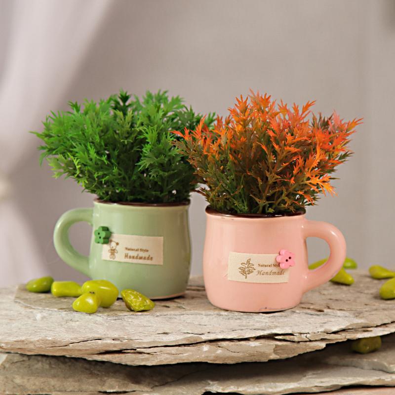 Pair of Green & Orange Artificial Plants in Small Ceramic Pots