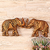 Pair of Wooden Elephant Wall Decor