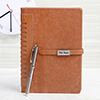 Personalized Brown Diary with Pen