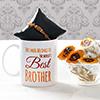 Personalized Mug with Tiger Eye Stone Rakhi & Kaju Sweets