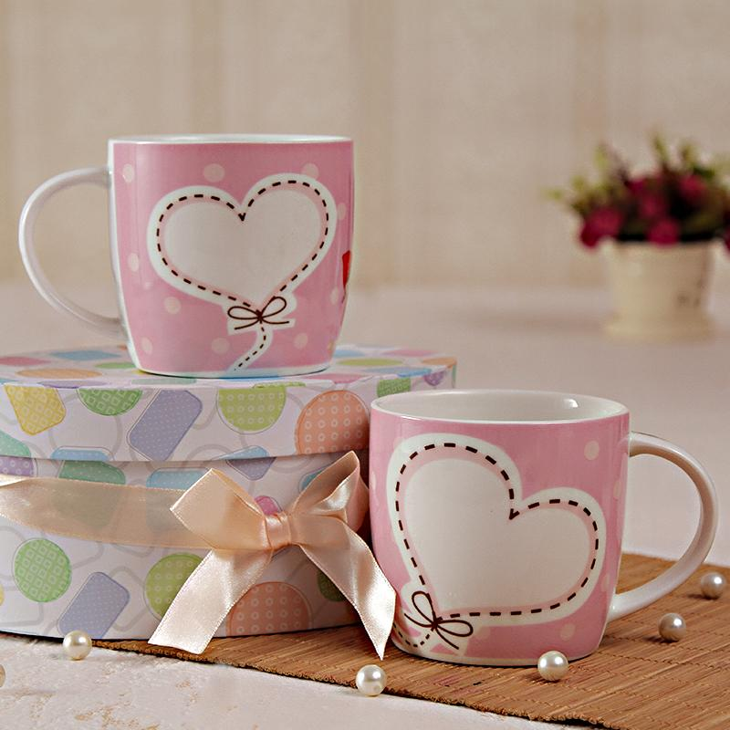 Pink Heart Printed Two Mugs Set With a Gift Box