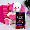 Pink Puppy Holding Heart Soft Toy with Dairy Milk Fruit and Nut