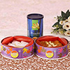 Pistachio Can with a Box of Pinni & Kaju Barfi