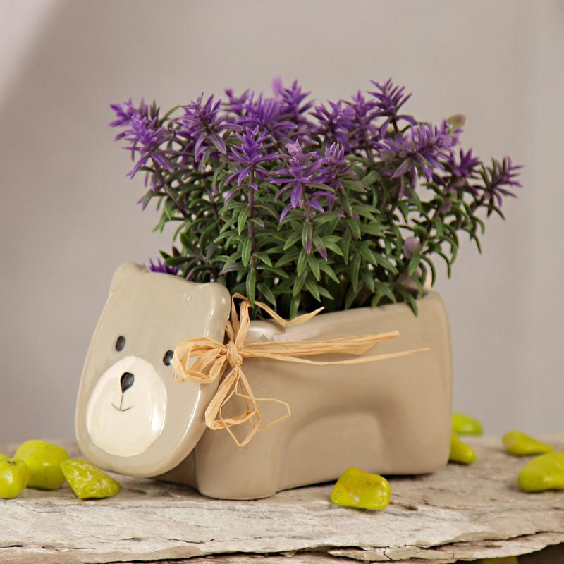 Purple Artificial Herbs with Teddy Shaped Ceramic Pot