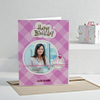 Purple Checkers Personalized Birthday Greeting Card