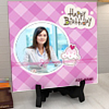 Purple Checkers Personalized Birthday Tile