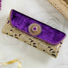 Purple Velvet Clutch With Embroidery & Cutwork