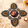 Radha-Krishna Peacock Rangoli