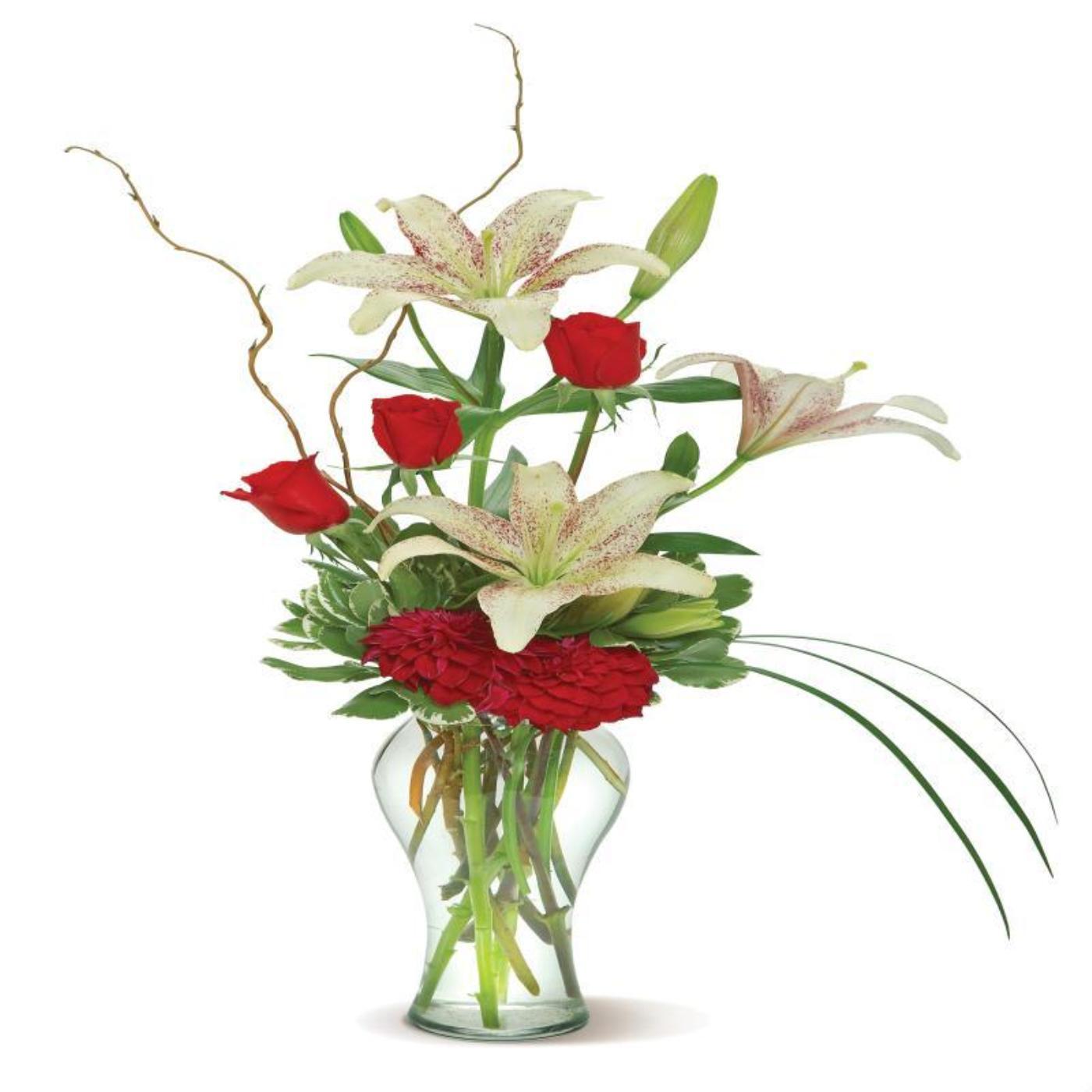 Radiant Beauty Glass Vase Arrangement