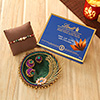 Rakhi with a box of Lindt chocolates and Puja thali for roli-chawal