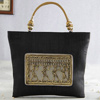 Raw Silk Handbag With Carved Metal Frame