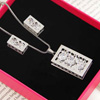 Rectangular Silver Plated Pendant Set with CZ Stones