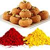 Red and Yellow Holi Gulal with Balushahi