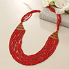 Red Beaded Long and Chunky Necklace for Women