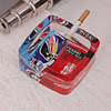 Red & Blue Square Glass Ashtray