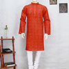 Red Embroidered Chikan Kurta for Men
