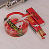 Red Printed Round Glass Ashtray & Matchbox Set