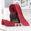 Red Printed Tie With Pocket Square & Cufflinks Hamper