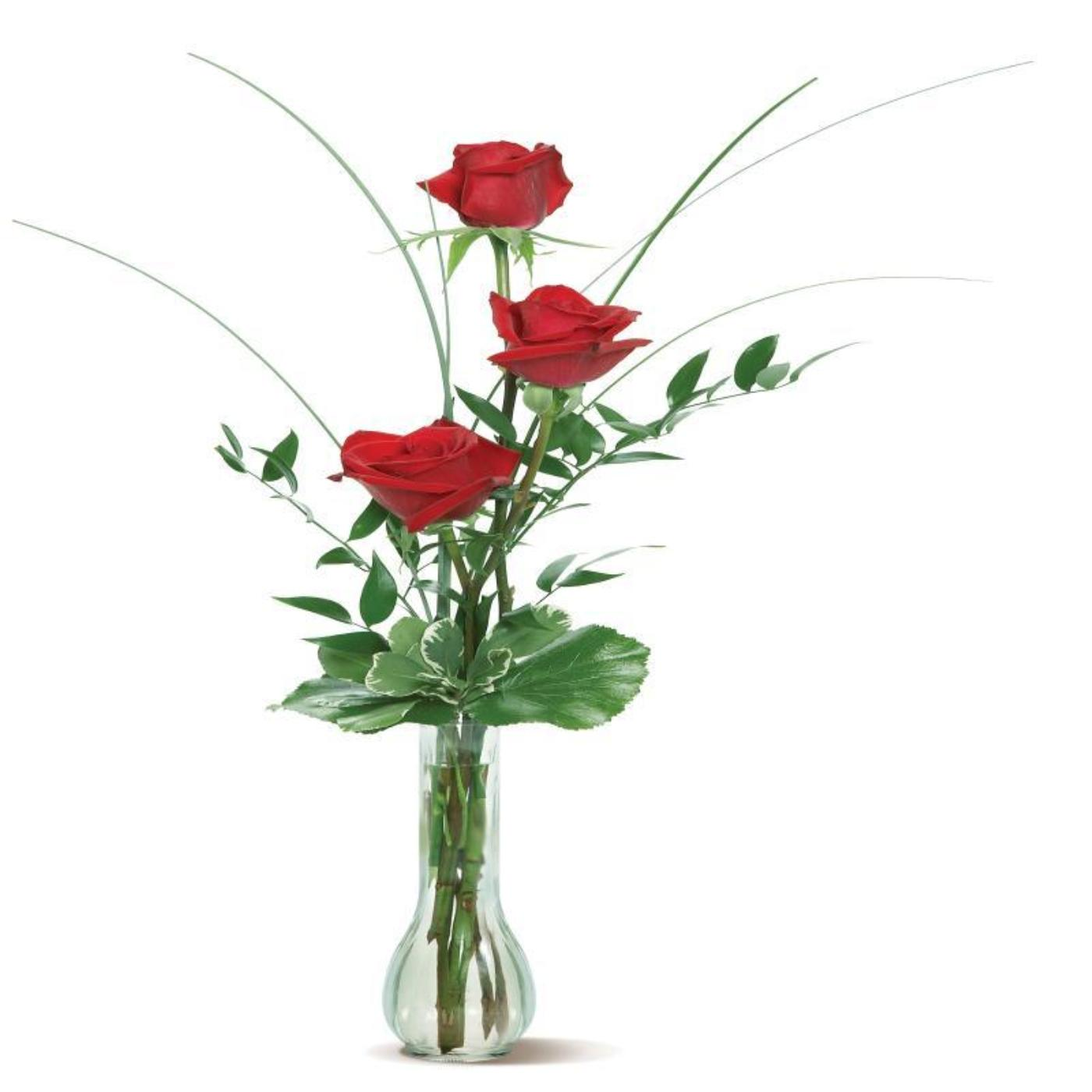 Red Rose Trio in a Glass Vase