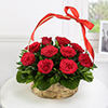 Red Roses ( 10 Stems) in a Round Basket With Handle