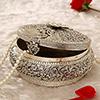 Round White Metal Jewelry Box