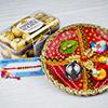 Rudraksh Rakhi with Fererro Rocher & Traditional Thali