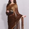Semi Chiffon Saree With Gold Plated Pendant Set & Ethnic Clutch Hamper