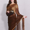 Semi Chiffon Saree With Gold Plated Pendant Set & Ethnic Clutch Hamper