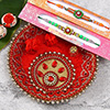 Set of 2 Fancy Rakhi with Puja Thali