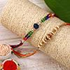 Set of 2 Multicolored Pearl Beaded Rakhi
