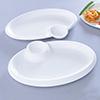 Set Of 2 Oval Shaped Chip-n-dip Melamine Platters