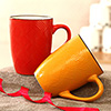 Set of 2 Red & Yellow Mugs in a Gift Box