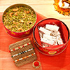 Set of 3 Colorful Rakhis with Dry Fruits & Sweets