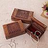 Set of 3 Jewelry Boxes with Taj Mahal Design