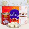 Set of 3 Rakhis with Cadbury Celebration & 1kg Rasgulla