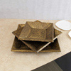 Set of 3 Textured Brass Embossed Wooden Trays