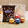 Set of 4 Matka Diyas with Snickers Miniatures