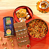 Set of 5 Multicolored Rakhis with Sweets & Dry Fruits