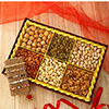 Set of 5 Semi-Precious Stone Rakhis with 6 in 1 Assorted Dry Fruits Pack